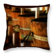 Wood Barrels Throw Pillow