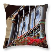 Wood Beams Red Flowers And Blue Window Throw Pillow