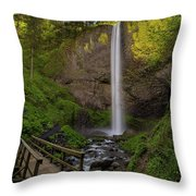 Wood Bridge At Latourell Falls Throw Pillow