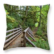 Wood Bridge Over Butte Creek Throw Pillow