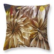 Wood Carved Dahlia Throw Pillow