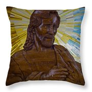 Wood Carving Of Jesus Throw Pillow