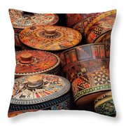 Wood Containers Throw Pillow