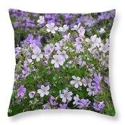 Wood Cranesbill Field Throw Pillow