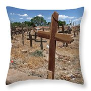 Wood Crosses In Taos Cemetery Throw Pillow