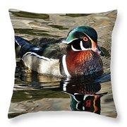 Wood Duck 1 Throw Pillow