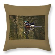 Wood Duck Autumn Reflections Throw Pillow