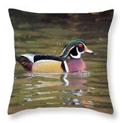Wood Duck In A Pond Throw Pillow