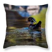 Wood Duck On Mill Creek Throw Pillow
