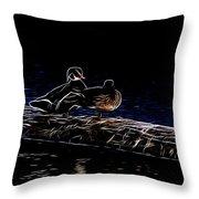 Wood Duck Pair - Fractal Throw Pillow