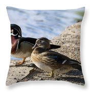 Wood Duck Pair By The Lake Throw Pillow