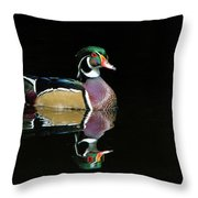 Wood Duck Reflection Throw Pillow
