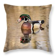 Wood Duck With Reflection Throw Pillow