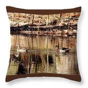 Wood Ducks Enjoying The Pond Throw Pillow