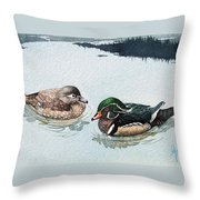 Wood Ducks Throw Pillow