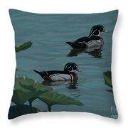 Wood Ducks On Lake Morton Throw Pillow