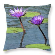 Wood Enhanced Water Lilies Throw Pillow