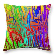 Wood Fire Rainbow Throw Pillow