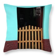 Wood Gate In A Door Throw Pillow