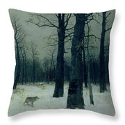 Wood In Winter Throw Pillow by Isaak Ilyic Levitan