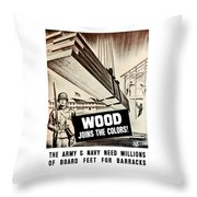 Wood Joins The Colors - Ww2 Throw Pillow