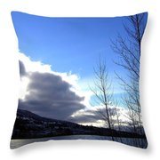 Wood Lake Sunrise Throw Pillow