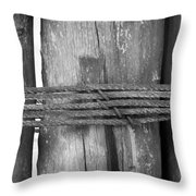 Wood Pilings Tied With Old Rusted Rope Throw Pillow