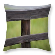 Wood Railing Over The Marsh Throw Pillow