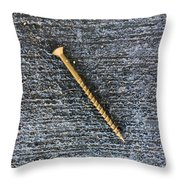 Wood Screw In The Gutter Throw Pillow