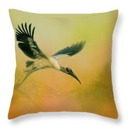 Wood Stork Encounter Throw Pillow
