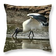 Wood Stork Fishing Throw Pillow