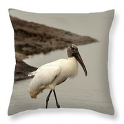 Wood Stork Walking Throw Pillow
