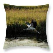 Wood Stork Winged Flight Throw Pillow