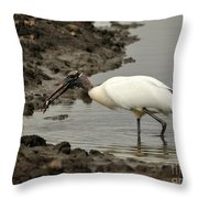 Wood Stork With Fish Throw Pillow