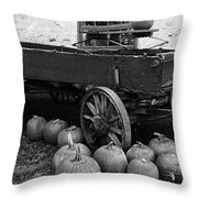 Wood Wagon And Pumpkins Black And White Throw Pillow