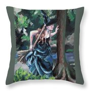 Wood Witch Throw Pillow