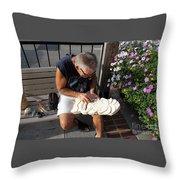Woodcarver Throw Pillow