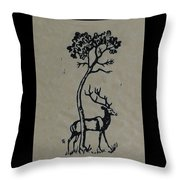 Woodcut Deer Throw Pillow