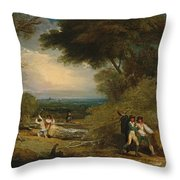 Woodcutters In Windsor Park Throw Pillow