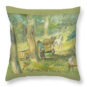 Woodcutters Throw Pillow