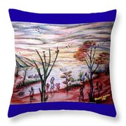 Wooded Beachfront With Fun Seekers Throw Pillow