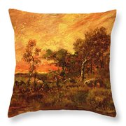 Wooded Landscape With A Faggot Gatherer Throw Pillow