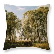 Wooded Landscape With A Group Of Figures In Costume Throw Pillow