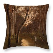 Wooded Landscape With Angler On The Riverside Throw Pillow