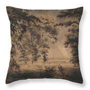Wooded Landscape With Rainbow Throw Pillow