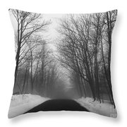 Wooded Winter Road Throw Pillow