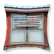 Wooden American Flag On Red Barn Throw Pillow