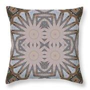 Wooden Art Deco Starbursts Throw Pillow