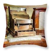 Wooden Bank Cash Register Throw Pillow