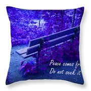 Wooden Bench With Inspirational Text Throw Pillow